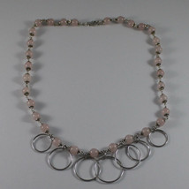.925 SILVER RHODIUM NECKLACE WITH PINK QUARTZ AND SILVER CIRCLES PENDANT image 2