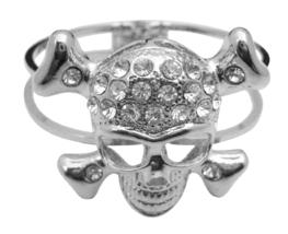Skull Cuff Bracelet Simulated Diamond Skull Forehead Hip Hop Bracelet - $18.58