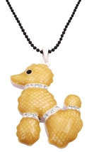 Poodle Pendant Necklace Black Beaded Long Necklace Animal Necklace - $10.78