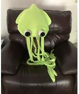 "RARE Knotts Berry Farm 57"" Neon Green Plush Octopus Squid Hat w Tentacle... - $44.55"