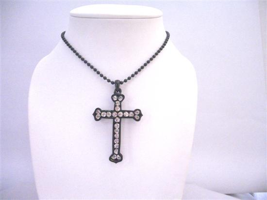 Cross Diamante Pendant Black Cross Fully Embedded Cubic zircon Jewelry