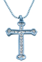 Turquoise Cross Pendant Diamante Pendant Cubic zircon Cross Jewelry - $10.13