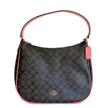 Coach Zip Shoulder Bag Hobo ~ Signature Brown & Coral Leather F29209 - $121.95