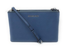 Michael Kors Womens Light Blue Signature Double Zip Gusset Crossbody Bag... - $137.00