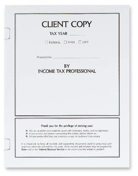 Income Tax return Client Copy Cover with Tabs - 50 Count