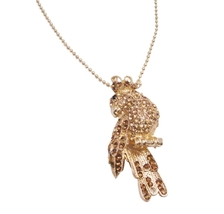 Sparkling Gold Bird Brooch Pendant Embedded Jonquil Crystals Jewelry - $21.83