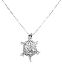 Turtle Symbol Of Long Life Cute Small Silver Turtle Pendant Brooch - $15.33