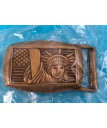 Statue Of Liberty American Flag Vintage Belt Buckle New Old Stock Collec... - $11.30