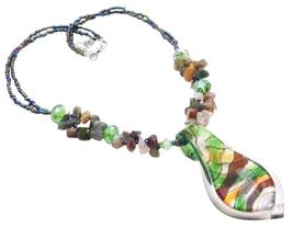 Gift Murano Glass Pendant Mulitcolor Gorgeous Shiny Pendant Necklace - $10.13
