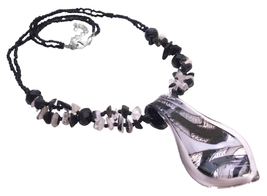 Leaf Murano Glass Pendnt w/ Black White Nuggets Beaded Necklace - $10.13