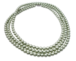 Green Pistachu Pearls Long Necklace 62 Inches - $22.48