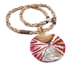 Shell Jewelry Beige Beaded Necklace w/ Shell Coral Pendant Necklace - $14.03