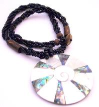 Shiva Eye Shell Round Pendant Black Multi Stranded Beaded Necklace - $14.03