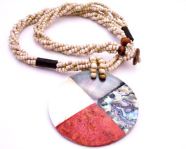 Black Beaded Necklace w/ Coral Mother Shell Abalone Pendant Necklace - $14.03