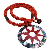 Carved Shell Pendant Necklace Stunning Focal Jewelry - $14.03