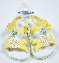 OLD NAVY NEW  GIRLS SHOE 4  SANDALS SHOES YELLOW PINEAPPLES 12M 18M 12-1... - $10.88
