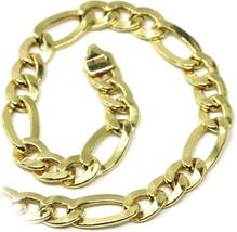 18K YELLOW GOLD BRACELET, BIG FLAT 5 MM SUNKEN FIGARO GOURMETTE ALTERNATE 3+1 image 2