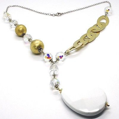 Silver necklace 925, Yellow, Drop, White Agate Large Oval Satin