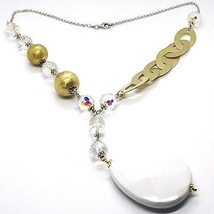 Silver necklace 925, Yellow, Drop, White Agate Large Oval Satin image 1