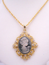 Golden Framed Cameo Pendant Necklace Victorian Cameo Lady Pendant - $17.93