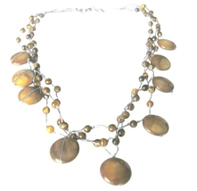 Tiger Eye Bead Necklace Three Strand Silk Brown Shell Wedding Necklace - $15.98