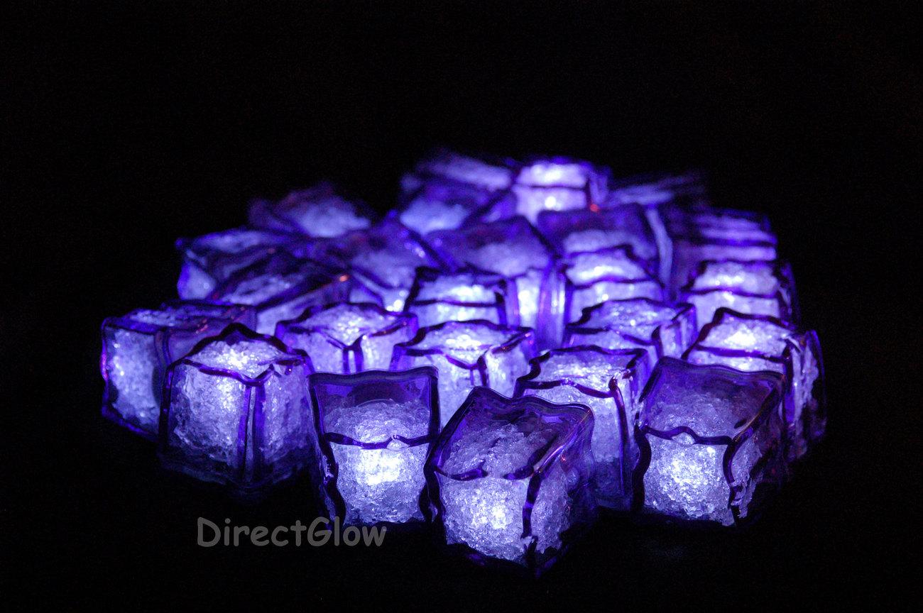 set of 12 purple litecubes led light up ice cubes favors party bag fillers. Black Bedroom Furniture Sets. Home Design Ideas