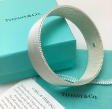 "c5a625e37 7.5"" Tiffany & Co Silver Firm Rigid Somerset Mesh Basket Weave  Bangle ..."
