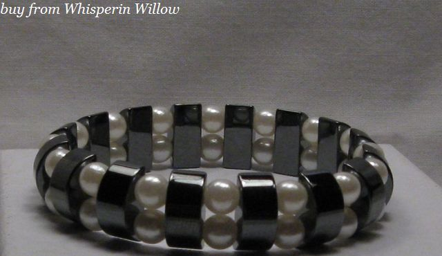 Primary image for White Pearl Double Strand Magnetic Hematite Bracelet