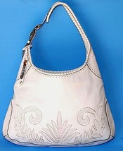 Cole Haan White Leather Hobo Purse Large Shoulder Bag Floral Whip Stitched - $83.79