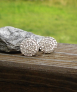 White Crystal Pave Round Circle Button Post Pierced Earrings - $15.00