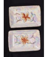 2 Lipper Mann Iridescent Trinket Tray Orange Floral 4 x 3 Japan Porcelai... - $19.38