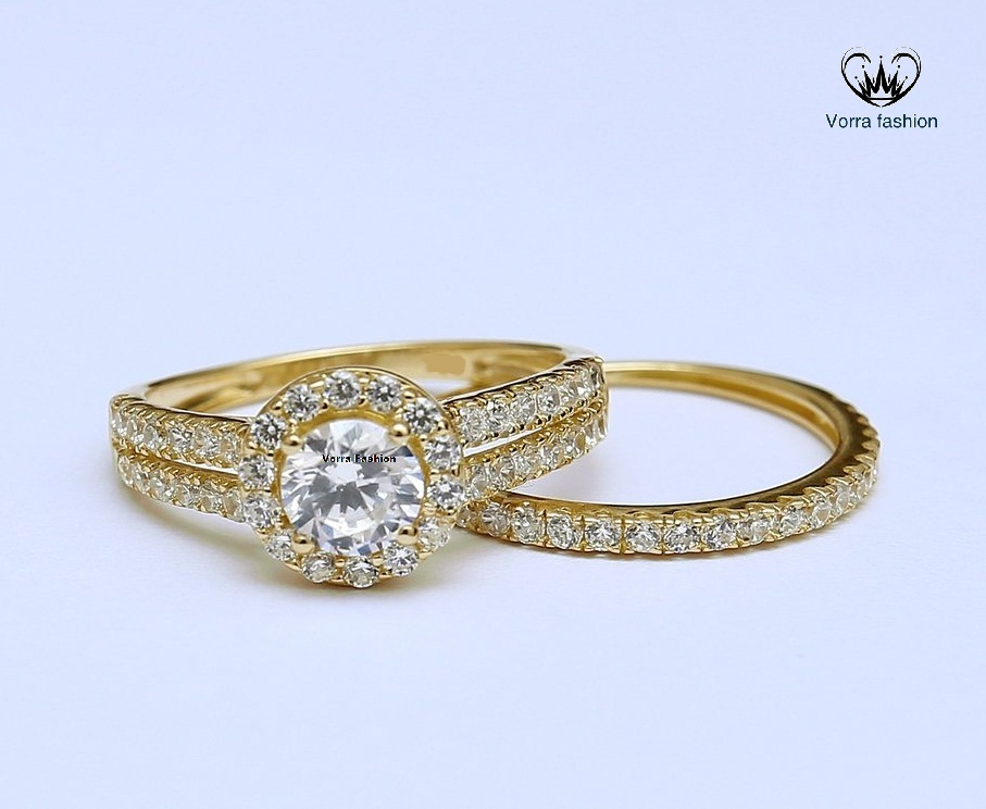 Primary image for White Diamond Bridal Engagement Ring Set 14k Yellow Gold Plated Pure 925 Silver