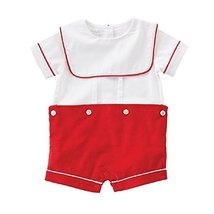 Mud Pie Monogram Me Red Button On Shortall Outfit, 3-6 Months - $31.35