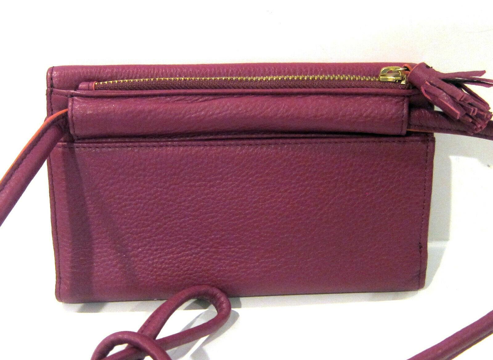 Fossil Brand Sophia Tassled Crossbody Wallet Raspberry Wine SLG1036672 NEW