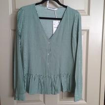 Zara Women Blouse Top Shirt Size XL Green Ruffle Stripe V-Neck Career Ca... - $30.17