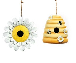 Beehive or Daisy Hanging Birdhouse Poly Stone Yellow & White 2 Choices image 1