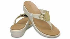 CROCS Women's Sanrah Embellished Wedge Flip Sandals Oyster Gold sz 8 9 10 11 - $29.99