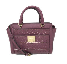 MICHAEL KORS Tina Messenger Plum Leather Satchel Bag Vivianne NWT - $99.00
