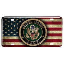 United States Army Emblem American Flag Design Aluminum License Plate - $13.81
