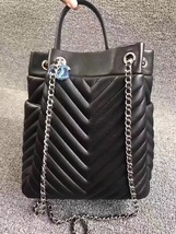 AUTHENTIC CHANEL BLACK CHEVRON QUILTED CHAIN 2 WAY DRAWSTRING BUCKET BAG