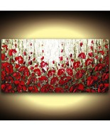 red poppies landscape expressionist fine art PRINT on stretched canvas L... - $375.00