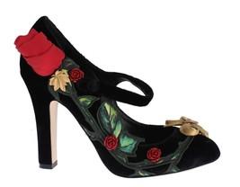 Dolce & Gabbana Women Black Velvet Roses Mary Janes Pumps EU38.5/US8 - $259.85