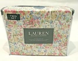 Lauren Ralph Lauren 3 Piece Twin Size Sheets Watercolor Abstract Floral Cotton  - $64.34