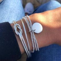 3 Pcs/set Silver Bohemian Geometry Bracelets Bangles Set Vintage Multila... - $8.87