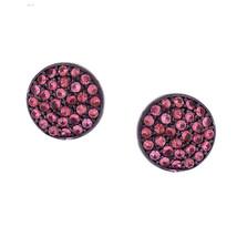 Sterling Silver Genuine Pink Sapphire Gemstone Round Stud Earrings Jewelry 10mm - $140.25