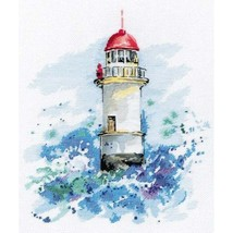 Cross Stitch Kit Hand Embroidery Landscape Lighthouse Sea - $29.00