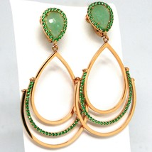 Drop Earrings Rose Gold 750 18K, Drops Movable, Aventurine, Closing Clips image 1