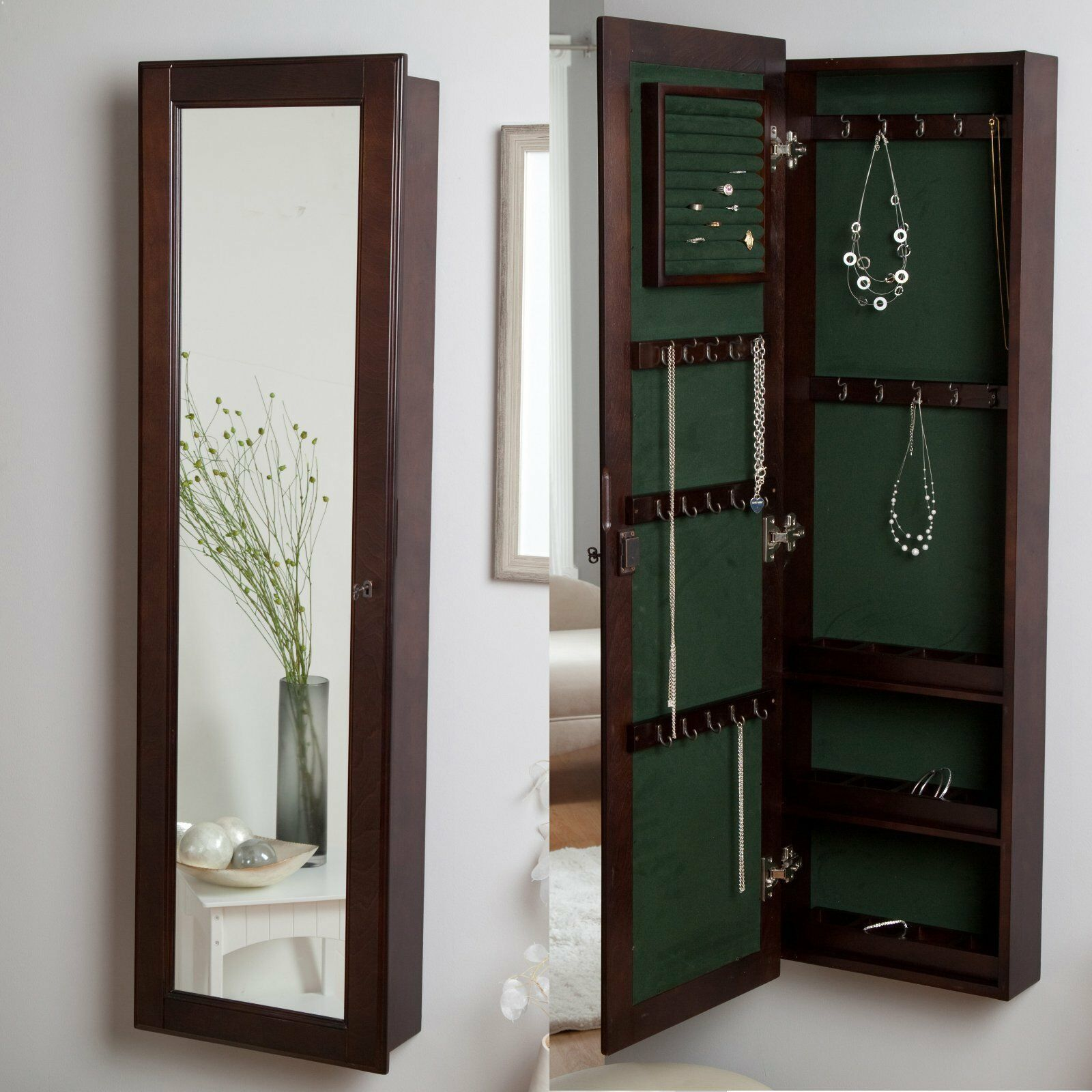 Wall Mount Wood Locking Jewelry Armoire Storage Cabinet ...