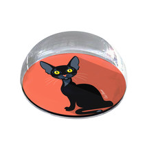 """Black Cartoon Cat Illustration Art Gift 2"""" Crystal Dome Magnet or Paperw... - $15.99"""
