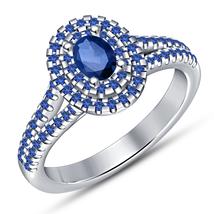 14k White Gold Finish 925 Sterling Silver Blue Sapphire Womens Engagemen... - £60.54 GBP